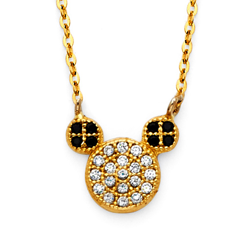 Floating CZ Mouse Charm Necklace in 14K