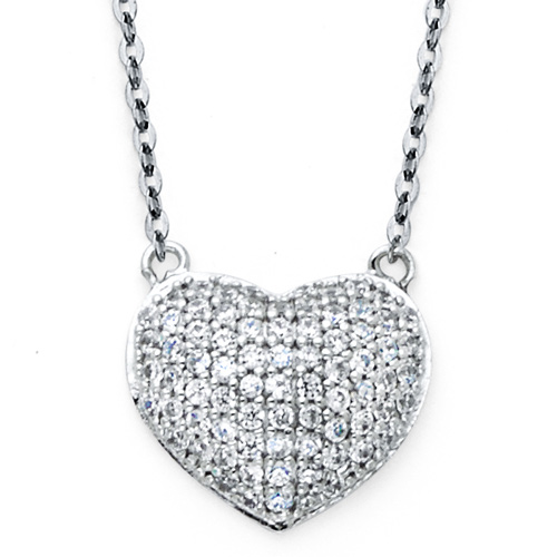Micropave CZ Puffed Heart Floating Charm Necklace