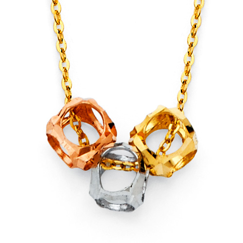 Triple Open Cube Charm Necklace in 14K