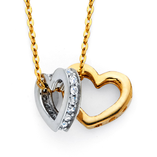 Duo Heart CZ Charm Necklace in 14K
