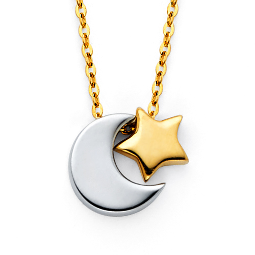 Crescent Moon and Star Charm Necklace in