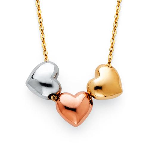 Trio Heart Charm Necklace in 14K Tricolor