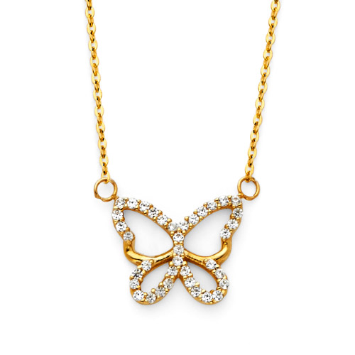 Floating Open CZ Butterfly Charm Necklace -