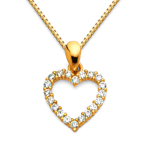 CZ Mini Open Heart Charm Necklace with Box Chain - 14K Yellow Gold 16-22in