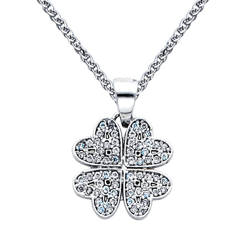 CZ Four-Leaf Clover Charm Necklace with Spiga
