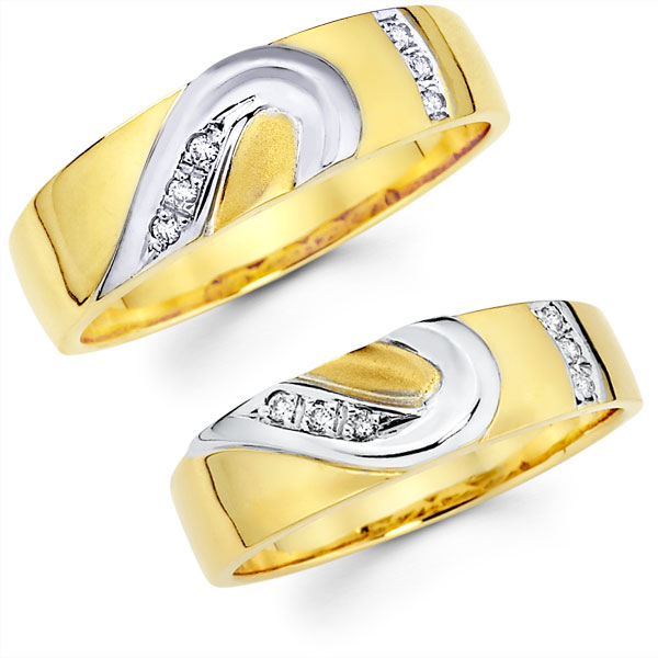 diamond 14k two tone gold matching heart wedding bands set goldenminecom - Heart Wedding Ring Set