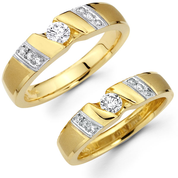 Round Diamond Center 14K Matching Couples Ring Set at GoldenMinecom