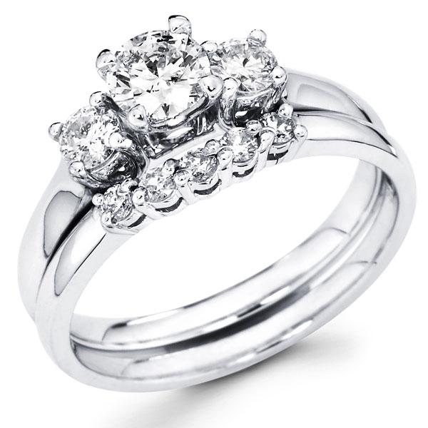 Three Stone Round Diamond Bridal Wedding Ring Set 0 75 Ctw Goldenmine