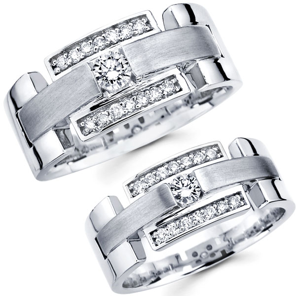 Wedding Rings On Matching His Hers 14k White Gold Diamond