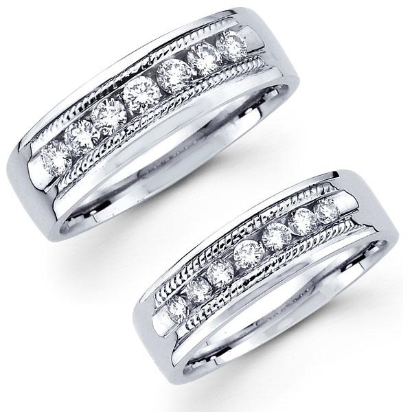 Rope Edge 14K Diamond His  Hers Ring Set