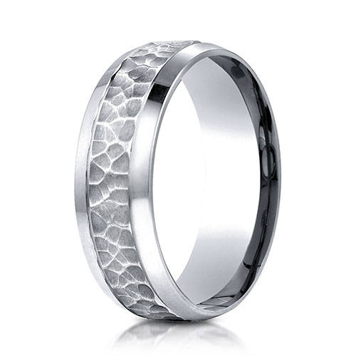 7.5mm 14K White Gold Hammered Beveled Edge Benchmark Wedding Band