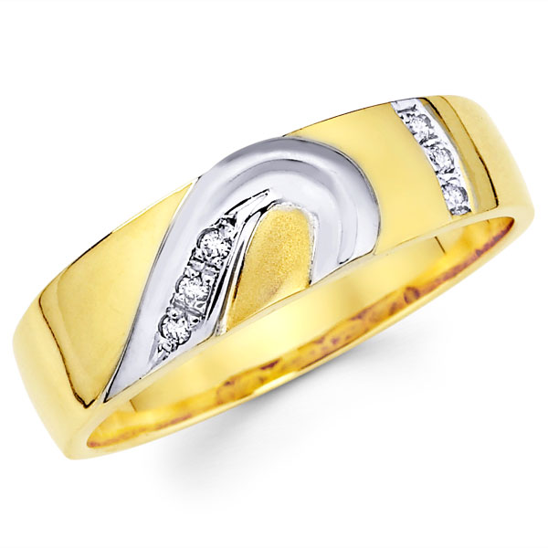 Diamond 14K Two Tone Gold Matching Heart Wedding Bands Set