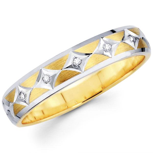 Ladies 14K Diamond Shape Round Diamond Wedding Band