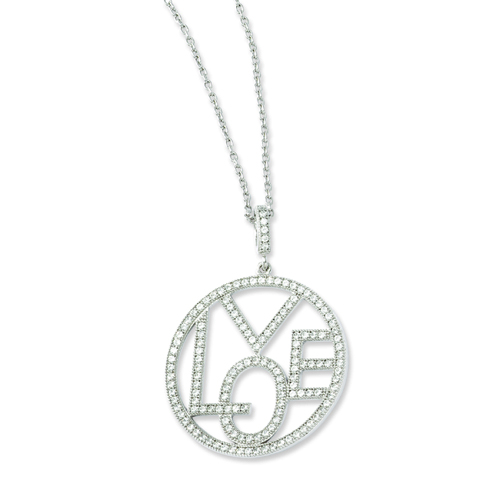 Elliot Skye Sterling Silver LOVE Cubic Zirconia Round Charm Necklace