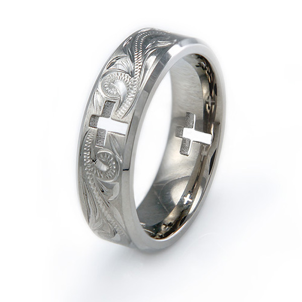 Handcrafted Floral Design Hollow Cross Titanium Ring
