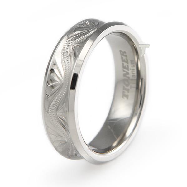 Handcrafted Floral Design Concave Titanium Ring