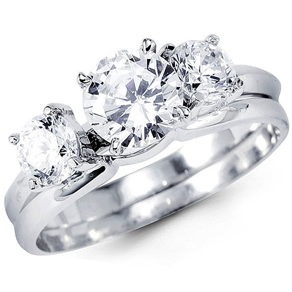 14k white gold three stone cz wedding ring set goldenminecom - Cz Wedding Ring Sets