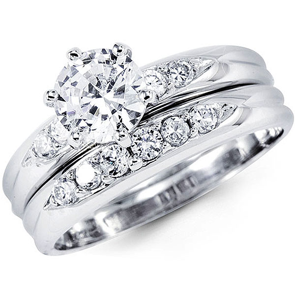 extraordinary 14k white gold cz wedding ring sets 17 follows different design - Inexpensive Wedding Ring Sets