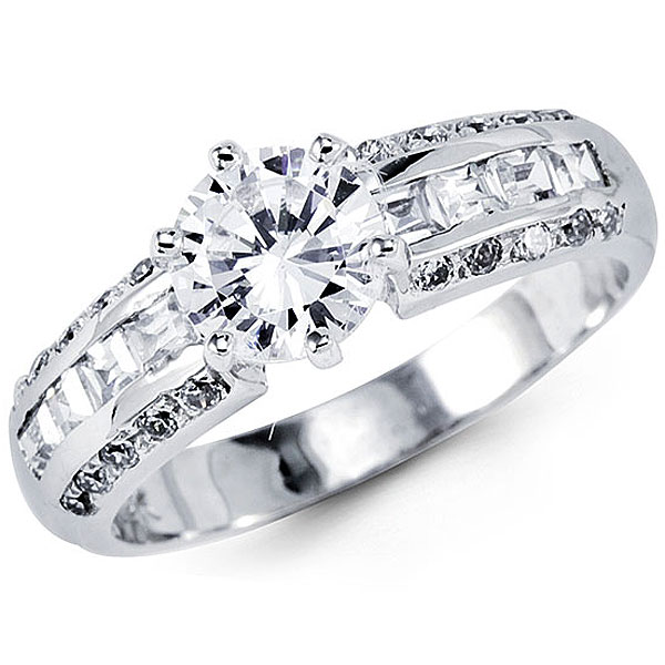 Engagement Rings on 14k White Gold Fancy Cz Engagement Ring