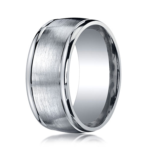 10mm Argentium Silver Satin Finished High Polished Round Edge Benchmark Ring
