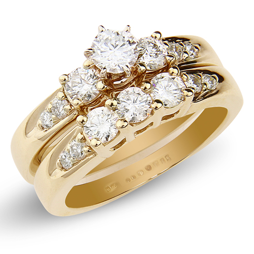 14K Yellow Gold 3 Stone Prong Set Bridal Ring Set