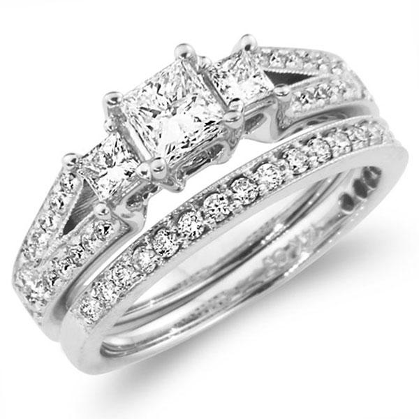 3 Stone Princess Cut Fancy Wedding Ring Set 1.00 ctw