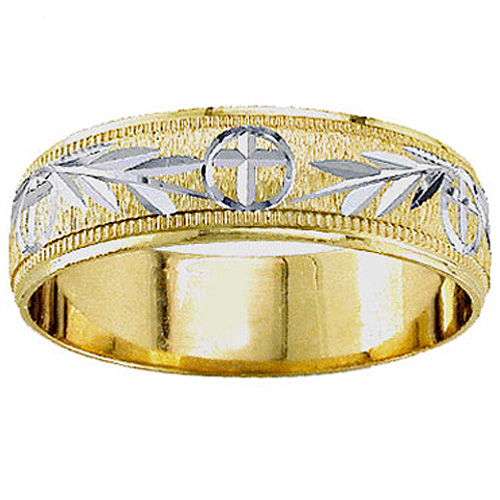 14k Two Tone Gold 5.5mm Wedding Band
