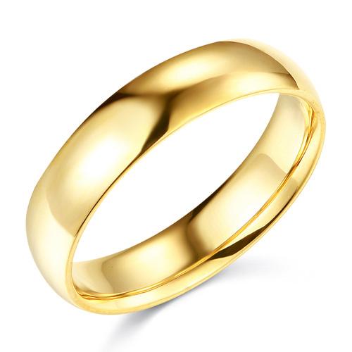 e991899bb98 5mm Classic Light Comfort-Fit Dome Wedding Band - 10K, 14K, 18K Yellow Gold