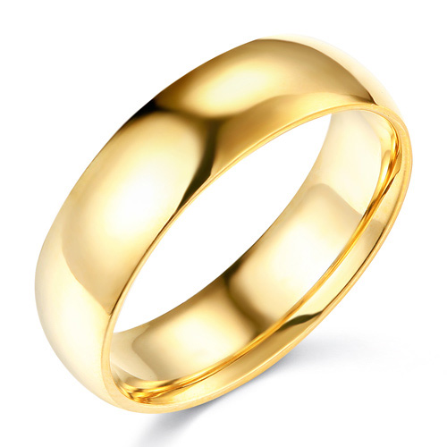 6mm Classic Light Comfort-Fit Dome Wedding Band - 10K, 14K, 18K Yellow Gold