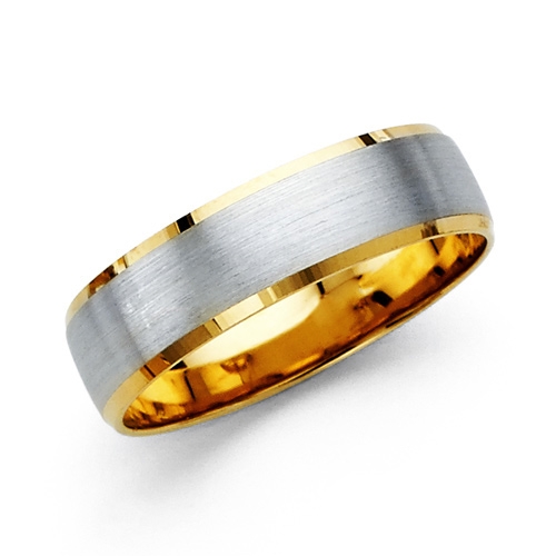 6mm brushed center 14k two tone gold men s wedding band