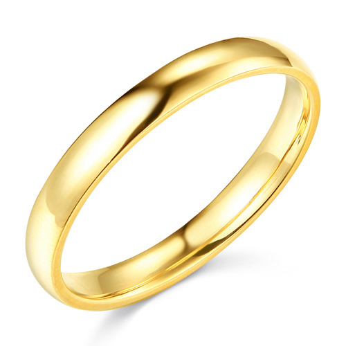 3mm Classic Light Dome Wedding Band - 14K Yellow Gold