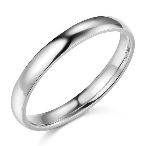 3mm Classic Light Dome Wedding Band - 14K White Gold