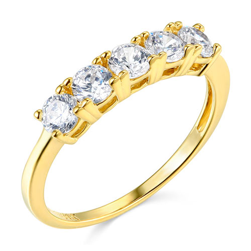 5-Stone Round-Cut CZ Wedding Band in 14K Yellow Gold - Women 1.10CTW