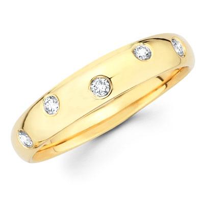 14K Yellow Gold Diamond Wedding Band