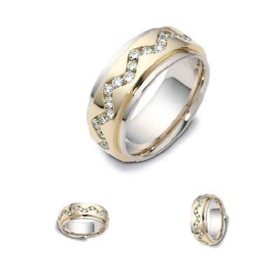 14K Two Tone Gold Diamond Wedding Band 1.4 tcw