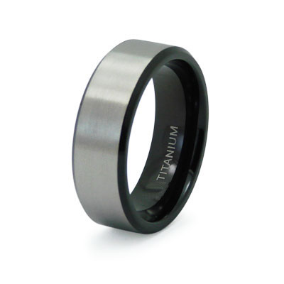 Mens Black Wedding Bands on Satin Finish Black Titanium Wedding Band