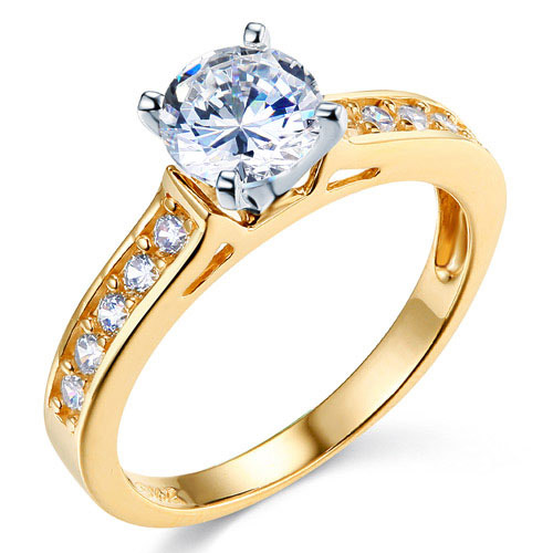 Cathedral-Set 1-CT Round-Cut CZ Engagement Ring in Two-Tone 14K Yellow Gold