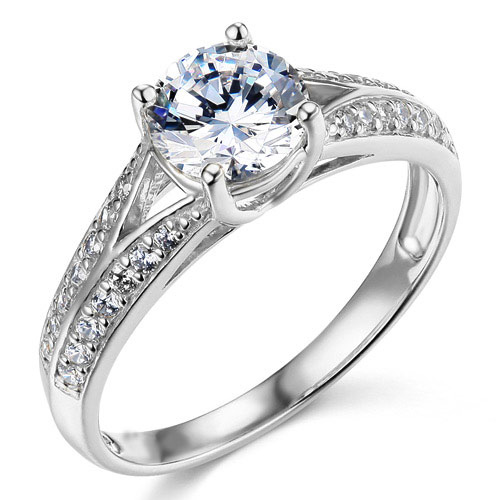 Split Shank Cathedral Knife-Edge 1-CT Round-Cut CZ Engagement Ring in 14K White Gold