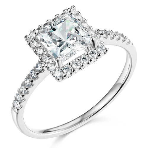Click here for Square Halo 1-CT Princess CZ Engagement Ring in 14... prices