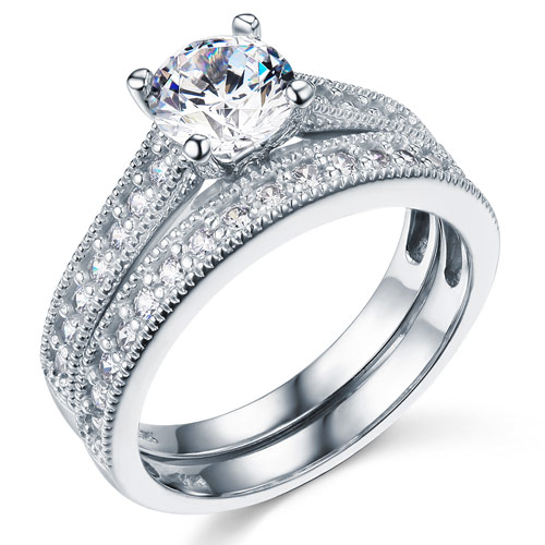 Milgrain 1-CT Round-Cut CZ Engagement Ring Set & Pave Stones in 14K White Gold