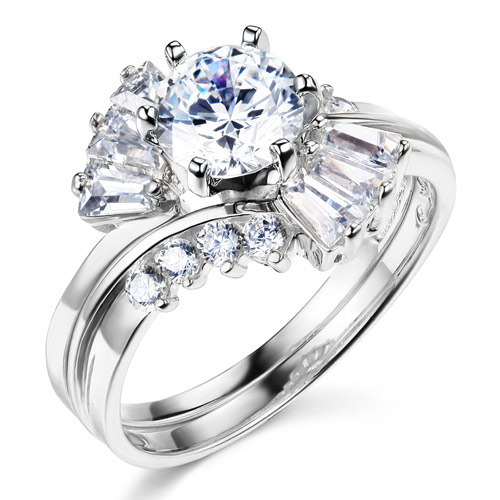 Baguette & 1-CT Round-Cut CZ Engagement Ring Set in 14K White Gold