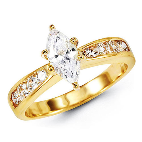 Tapered Marquise Cut CZ Engagement Ring in 14K Yellow Gold