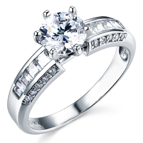 Regal Baguette 1 CT Round Cut CZ Engagement Ring In 14K White Gold