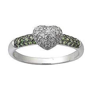 Diamond Heart and Green Garnet Ring