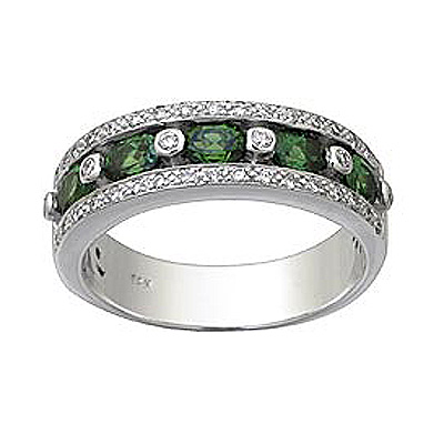 Green Garnet and Diamond Band