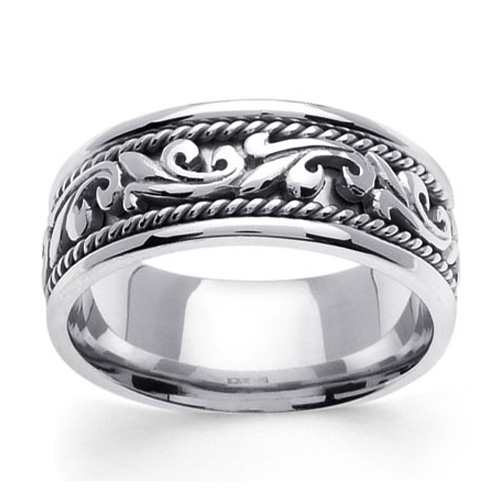 9mm Scroll Art Deco 14K White Gold Men\'s Wedding Band | GoldenMine.com