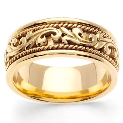 9mm Art Deco Cord 14K Yellow Gold Mens Wedding Band GoldenMinecom
