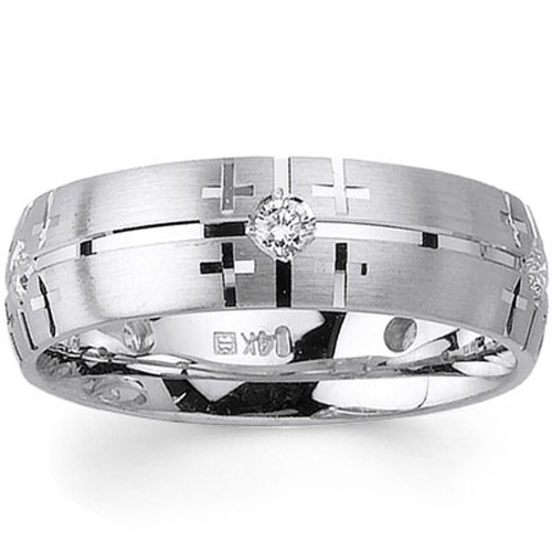 7mm Cross Design Bezel Diamond 14k White Gold Christian Wedding Band