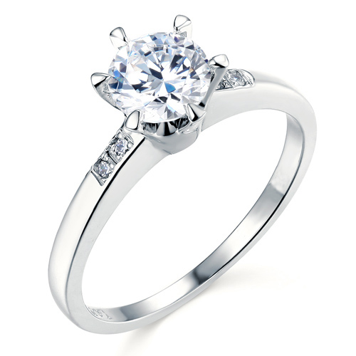 Chic Six-Prong Round Cut CZ Engagement Ring in Sterling Silver