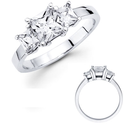 Three Princess Diamond 14K White Gold Engagement Ring 1.50 ctw